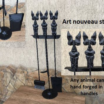 Fireplace tools, fireplace accessories, fireplace tool set, fire place, art nouveau, log tongs, fireplace set, fireplace screen, fireplace