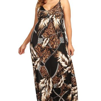 Womens Plus Size Feather Leopard Print Abstract Maxi Dress