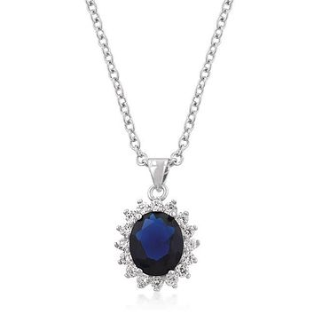 Kate Royal Sapphire Oval Halo Pendant | 6.5ct