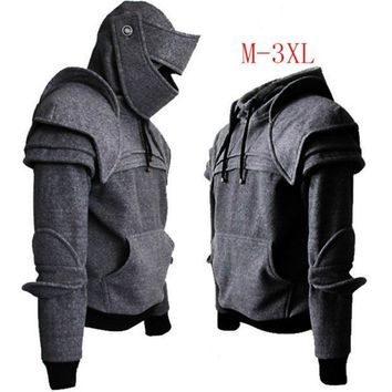 Cosplay Medieval Game Knight Cavalier Armor Hoodie Costume Warrior Hooded Jacket With Removable Mask For Men