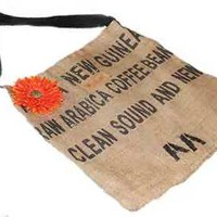 Rock N' Couture One of a Kind Burlap Tote Bag with Orange Flower