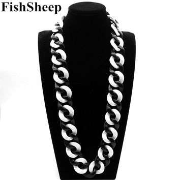 Statement Acrylic Long Necklace For Women Exaggerated Black/White Big Acrylic Link Chain Choker Necklaces 2018 Fashion Jewelry