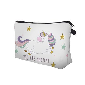 White with Unicorn Cosmetic Bag