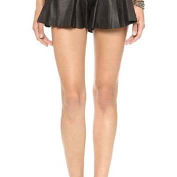 Shakuhachi Leather Frill Shorts