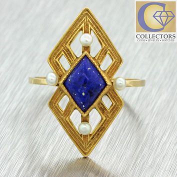 1880s Antique Victorian 14k Solid Yellow Gold Lapis Lazuli Seed Pearl Ring