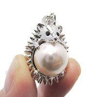 Hedgehog Porcupine Hugging a Pearl Shaped Animal Pendant Necklace in Silver