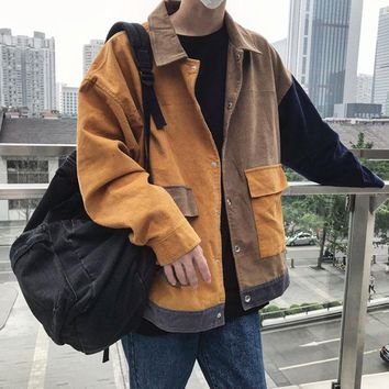 2018 Autumn Yellow Jacket Men Creative Corduroy Japanese Style Loose Uniform Patchwork Color Big Pocket Men's Casual Jacket