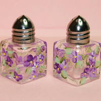Mini Hand Painted Salt & Pepper Shakers - Purple Forget-Me-Nots - Original Designs by Cathy Kraemer
