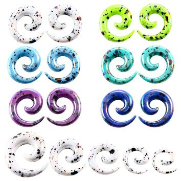 2pcs Acrylic Spiral Ear Gauges Ear Tapers Stretching Ear Plugs and Tunnel Expanders Piercing (1.6-12mm)  Body Piercing Jewelry