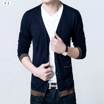 Two Tone V-Neck Cardigan