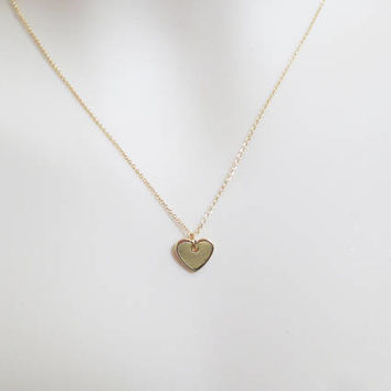 Lovely, Heart, Gold filled, Chain, Necklace, Modern, Minimal, Love, Necklace, Lovers, Best friends, Gift, Accessory, Jewelry