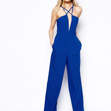 Blue Halter Strappy Cut-Out Jumpsuit