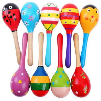 1Pcs Wooden Maraca Wood Rattles Kids Musical Party favor Child Baby shaker Toy Hot Baby Baby Rattles Mobiles #10