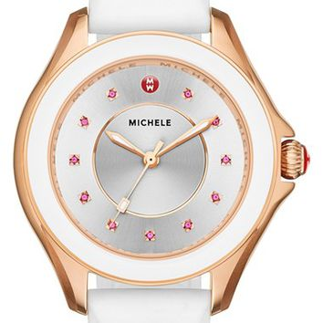 Women's MICHELE 'Cape' Topaz Dial Silicone Strap Watch, 40mm - White/ Rose Gold