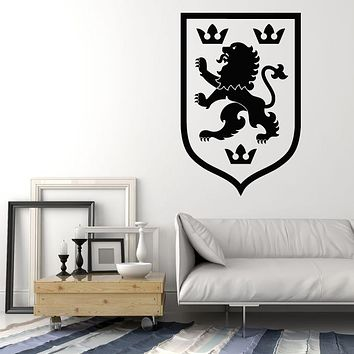 Vinyl Wall Decal Heraldic Emblem Medieval Lion King Crown Stickers Mural (g1828)