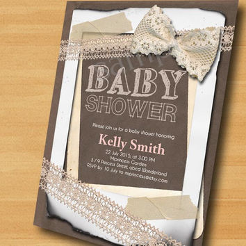 baby Shower invitation  burlap baby shower invitation Vintage Rustic Lace baby boy baby girl shower Invitation Sackcloth - card 285