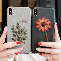 Embroidery - 3D silicon hard case for apple iPhone X