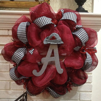 Alabama Crimson Tide Door Wreath - Roll Tide Decoration - Hounds Tooth Hat
