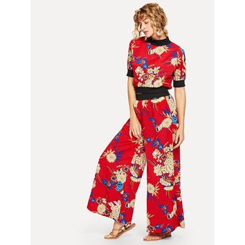 Floral Print Top With Wide Leg Pants