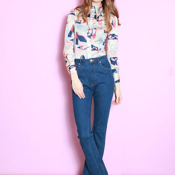 Vintage 1970's Pink And Blue Floral Print Fitted Shirt
