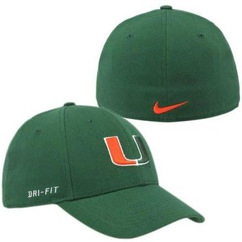 Nike Miami Hurricanes Dri-FIT Swoosh Flex Hat - Green