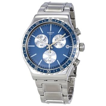 Swatch Ironfreeze Blue Dial Mens Chronograph Steel Watch YVS438G