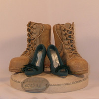Combat Boots and Teal Pumps Wedding Cake by CakeTopCreations
