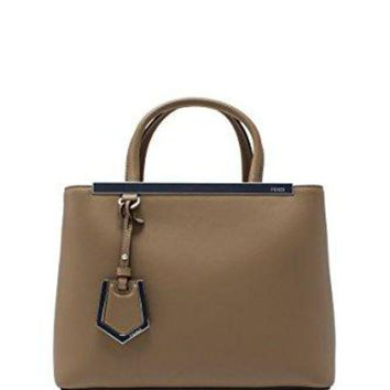 Fendi Women's Leather Handbag Shopping Bag Purse Petite 2jours Brown