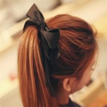 1 Pcs Hair Accessories Women Satin Ribbon Bow Hair Band Rope Scrunchie Ponytail Holder 6 Colors Women Hair Styling Tool Hot