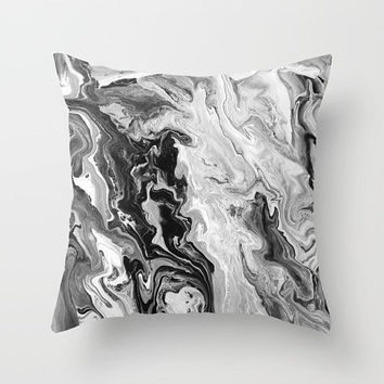 Black and White Marble decorative Throw Pillow,  paint swirls,  abstract, modern, sophisticated,  beautiful chic decor