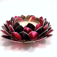 Lotus Flower Chainmail Candle Holder Pink and by SerenityInChains