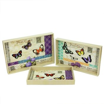 Set of 3 Decorative Vintage-Style Butterfly Wooden Rectangular Serving Trays