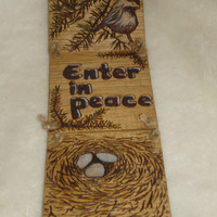 Three tile Butternut Wood Burned  Reversible Peace and Happy Spring Entry Sign