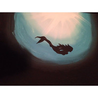 Deep Ocean Mermaid Canvas Painting