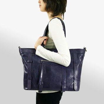 UN1 Purple Leather Tote: Work Bag / Laptop Bag / Leather Bag / Leather Purse / Diaper bag / Large Leather Bag.
