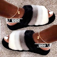 UGG Winter High Quality Classic Popular Women Casual Fluff Yeah Slippers Shoes Black White