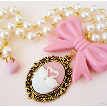 Swan Cameo Necklace, Beaded Pearl Chain with Pastel Pink Bow in Gold - Sweet Lolita, Gyaru