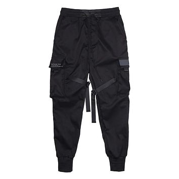 Men Ribbons Color Block Black  Sweatpant Hip Hop Trousers