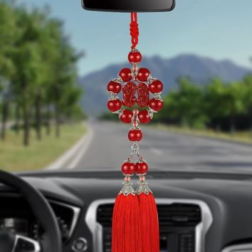 Chinese Style Jades Double Brave Troops Tassel Hanging Pendant Auto Internal Rearview Mirror Decoration Ornaments Car-Styling