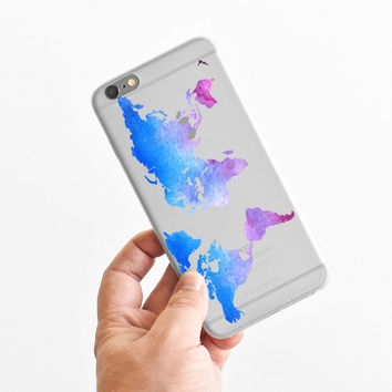 Watercolor World Map - Wanderlust - Travel - Super Slim - Printed Case for iPhone - S008