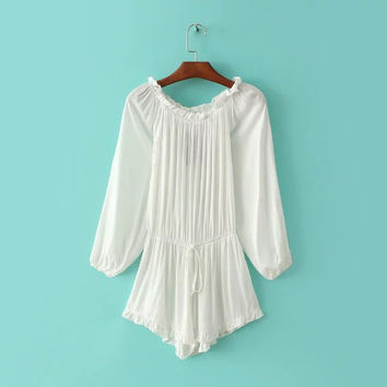 Summer Lights Strapless Long Sleeve Ruffle Romper [8173561543]