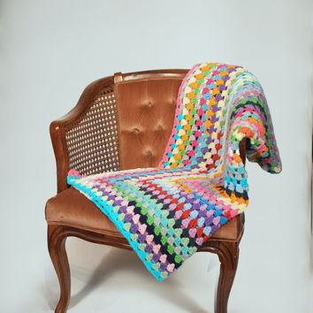 Afghan Crochet Blanket - One of a Kind Color Granny Square Full Large