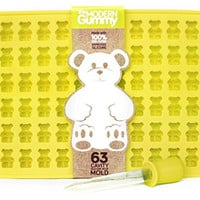 63 Cavity Gummy Bear Mold by The Modern Gummy + Bonus Dropper | 100% LFGB Silicone, No Plastic Fillers, BPA, or Chemical Coatings | Fruit Snack, Hard Candy, Chocolate Making | Soap & Ice Cube Tray
