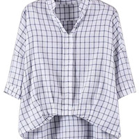 Blue Plaid V-neck Dipped Hem Blouse