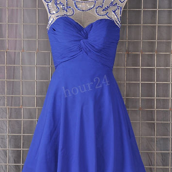 Dark Royal Blue Short Prom  Dresses, Beaded Bridesmaid Dresses, Party Dresses, Evening Dresses, Wedding Party Dresses, Bridesmaid Dresses