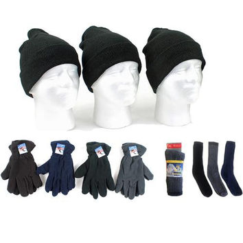 Adult Beanie Knit Hats, Men's Fleece Gloves, and W