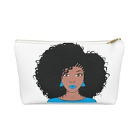 Blue Natural Afro Queen Make up Pouch w T-bottom