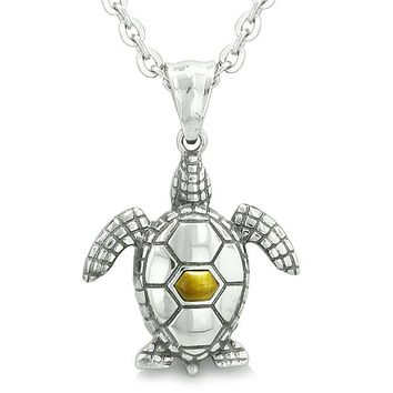 """Amulet Sea Turtle Cute Tiger Eye Crystal Lucky Charm Pendant on 18"""" Necklace"""