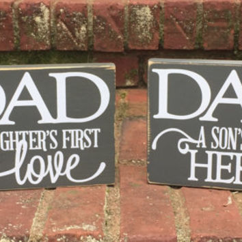 Sign Father's Day gift from Daughter distressed Wood shelf sitter gift for Dad