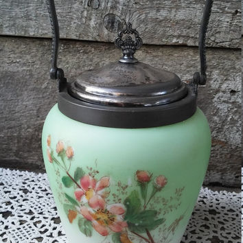 Antique Satin Glass Biscuit Jar, Beautiful Hand Painted Glass, Cracker Barrel